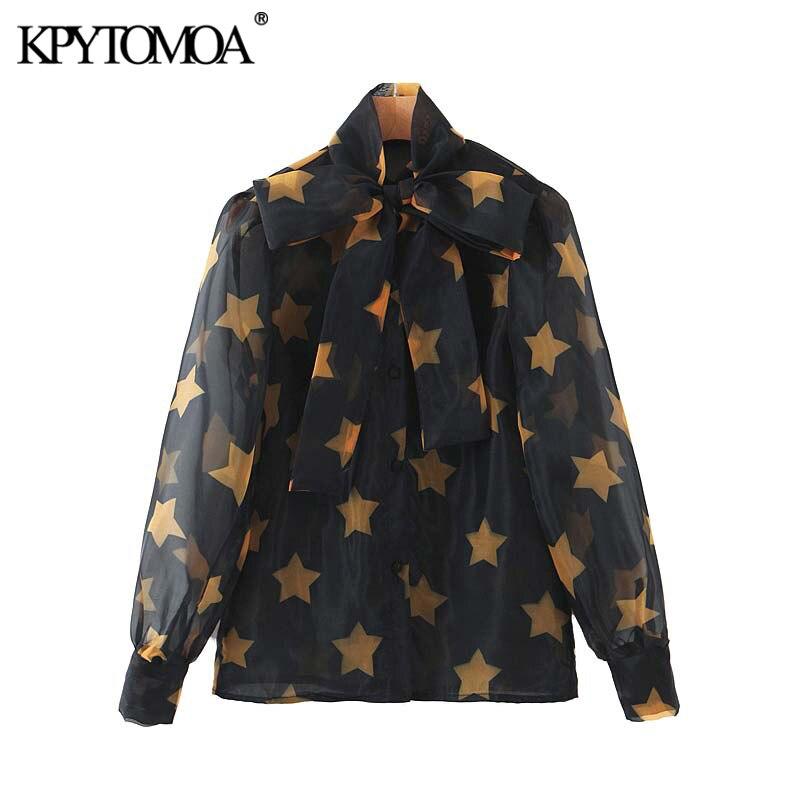 Vintage elegante estrela impressão organza blusas femininas 2020 moda laço colarinho manga longa camisas femininas chiques
