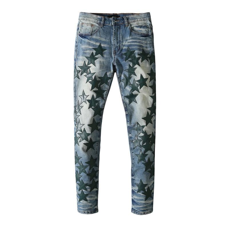 American Famous Brand AMR Green Star Patch Vintage Jeans Men Trousers Streetwear Techwear Traf Pants for Men 2021 Jeans for Men