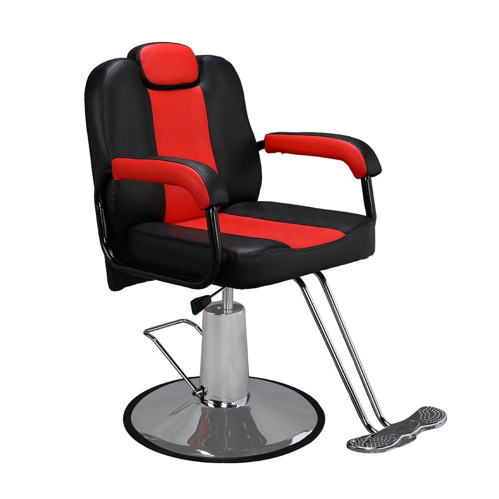 الحلاق كرسي الجمال صالون المعدات PVC جلدية الأسود والأحمر سهلة تجميع نظيفة 100x65x10 0/113 سنتيمتر [لنا المخزن]