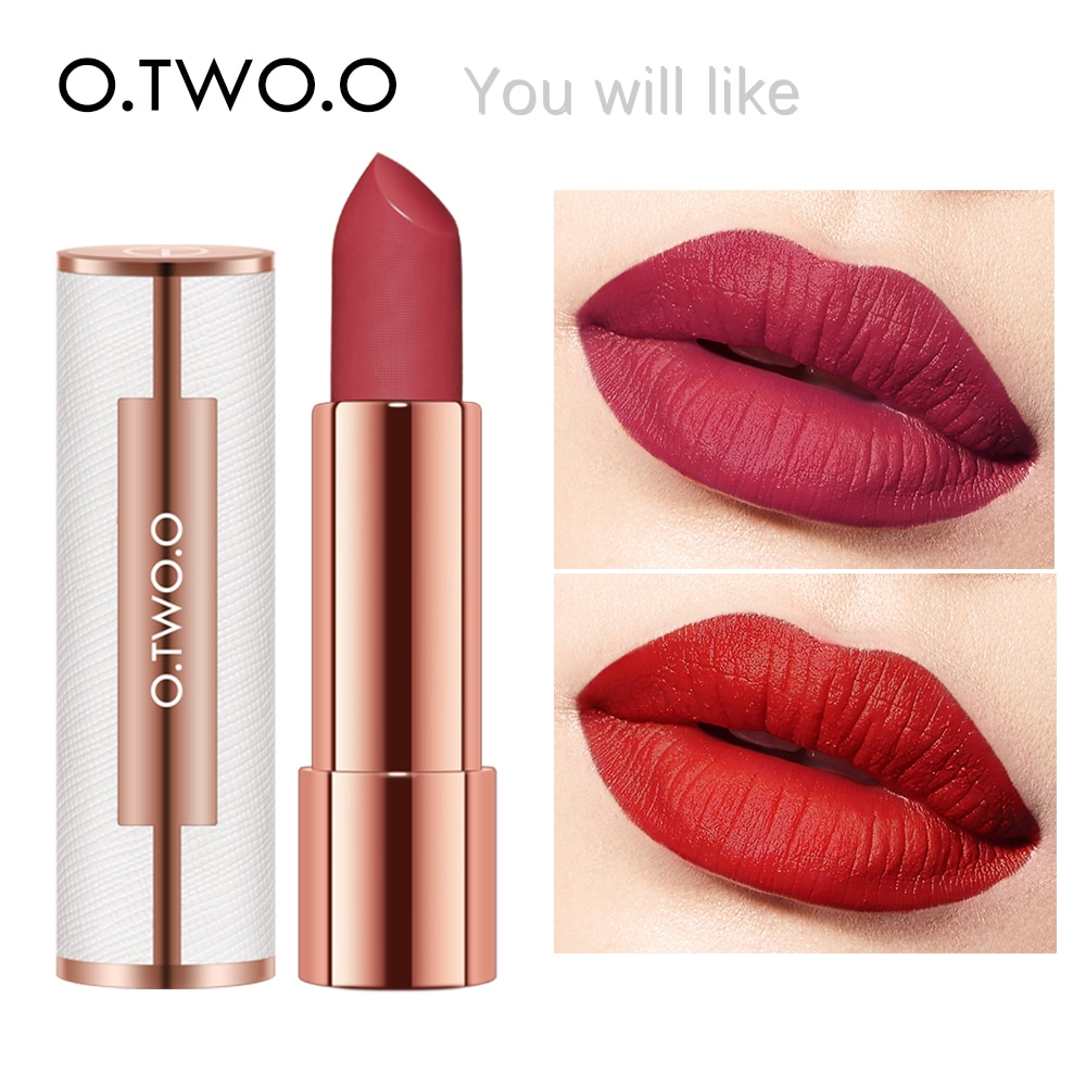 O.TWO.O Matte Lipstick Nude Brown Red Lips Makeup Velvet Silky Smooth Texture Long Lasting Waterproof LipStick 12 Colors MakeUp