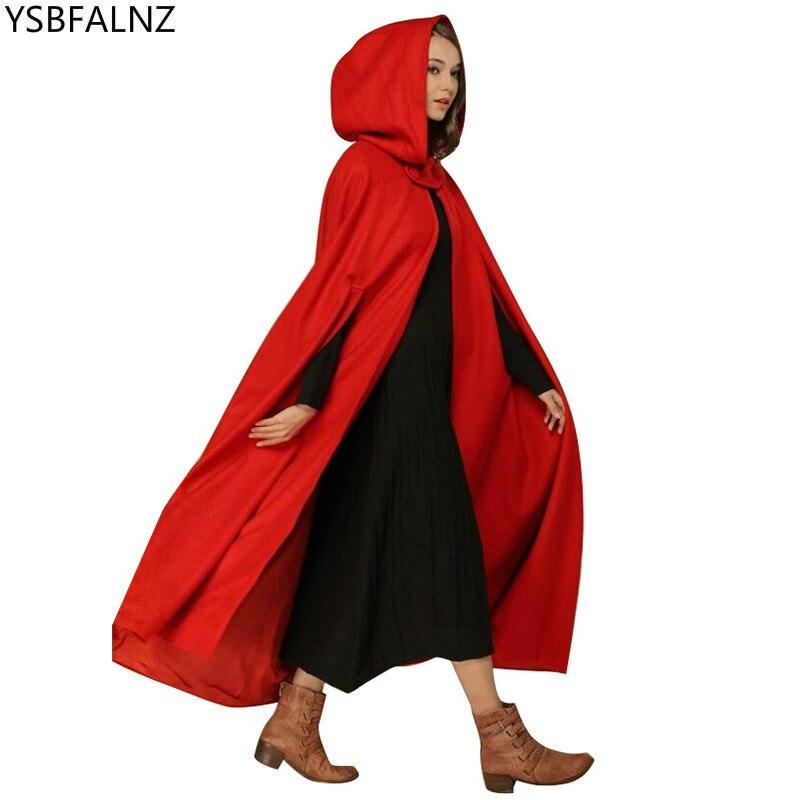 Novo casual feminino inverno vintage com capuz capa sem mangas botão encerramento fino com capuz longo capa traje halloween cosplay outerwear