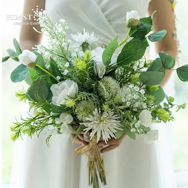 HIMSTORY-إكليل من الورود البيضاء للعروس ، باقة أوراق خضراء ، سلة زهور مستديرة من الحرير للزينة