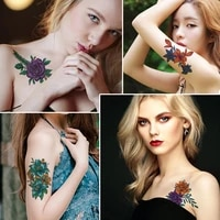 12 pcs woman waterproof temporary tattoos temporary tattoo on the body fake tattoo sticker sexy flower rose removable couple