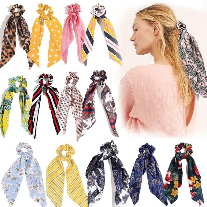 Accesorios para el cabello de moda larga bufanda cintas Scrunchie para mujeres pajarita coletero elástico Cintas de Pelo para chicas Accesorios Mujer
