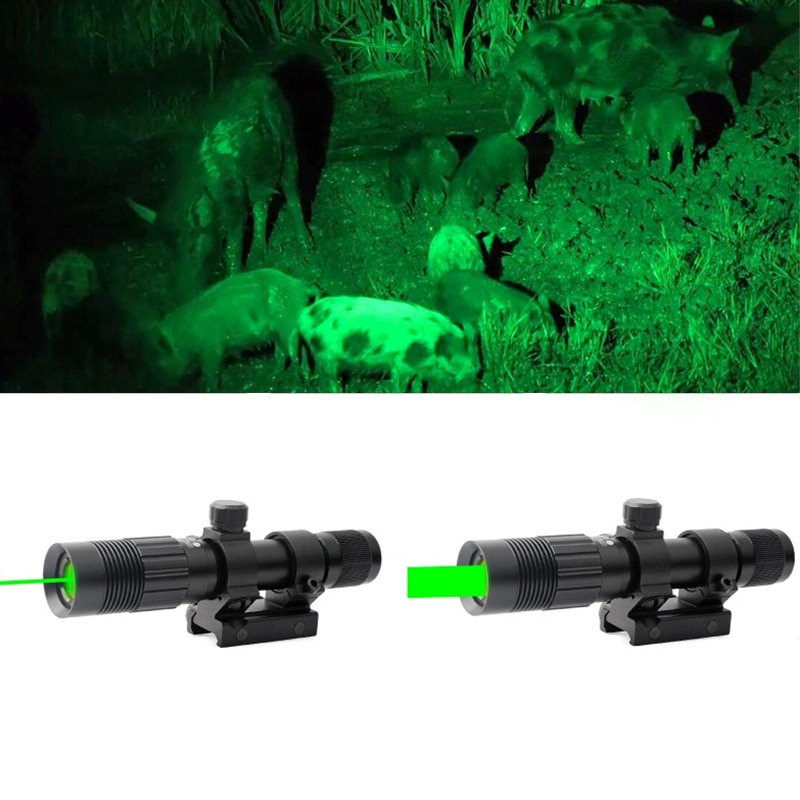 Tactical Zoomable Flashlight Torch with Green Light Adjustable Focus for Rifle Scope Airgun Pistol for 20mm Dovetail Size