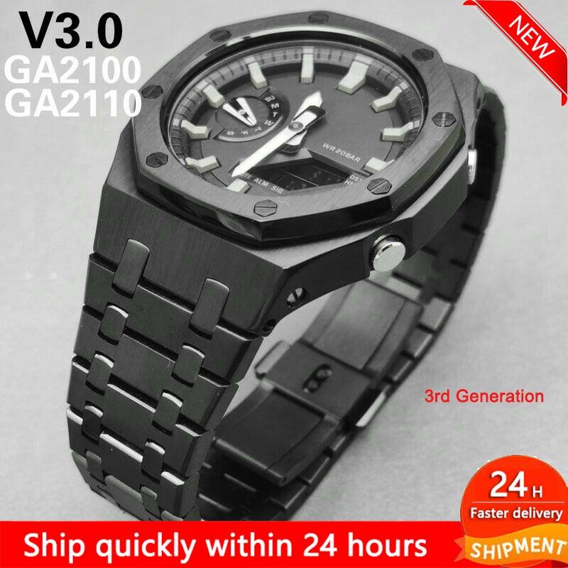 3rd الجيل الثالث GA2100 حزام (استيك) ساعة معدن الفولاذ المقاوم للصدأ حزام ل كاسيو G صدمة GA-2100 استبدال اكسسوارات بالجملة