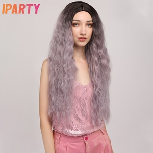 Black Root Grey Synthetic Wigs Long Super Curly Middle Part For Women Colored Wig Hair Cosplay Wig Heat Resistant 29inch IPARTY