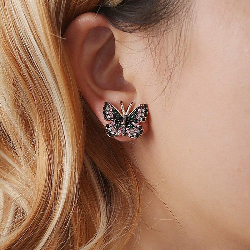 Pendientes de circonio de mariposa divertidos de moda, pendientes estéticos coreanos vintage para mujer, joyería bohemia de lujo, accesorios donna