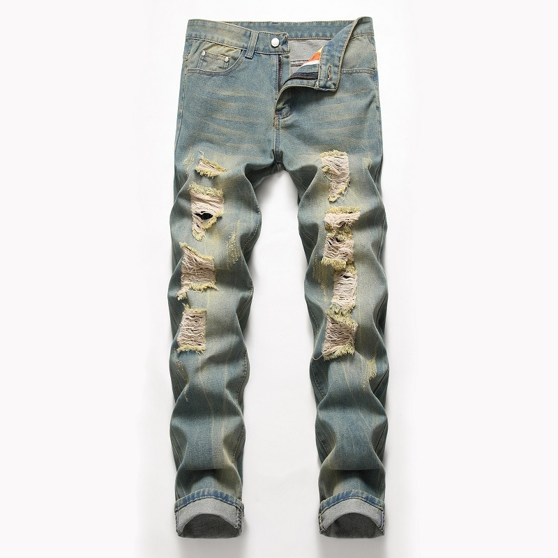 2021 New Arrival Spring Men's Ripped Print Street HIP HOP Punk Stretch Bike Jeans Trendy Holes Straight Casual Denim Trouers