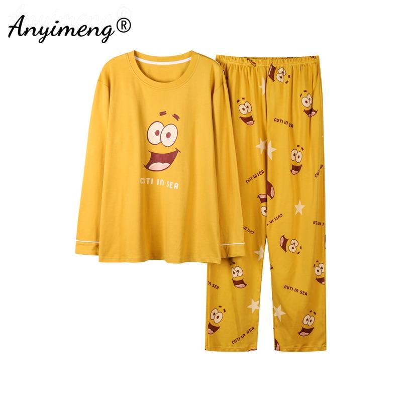 Men\'s Casual Sleepwear Trendy Cartoon Printing Home Suit Soft Cotton Pyjamas for Man Spring New Mens Funny Pullover Pajamas Set
