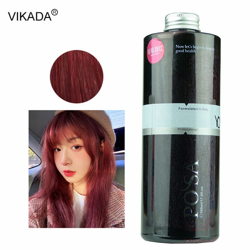 Wine Red Blue Grey Hair Dye Cream Long-Lasing Semi Permanent Hair Color Cream Hairdressing Tool Hair Dye Paint Cream Wax 500ml