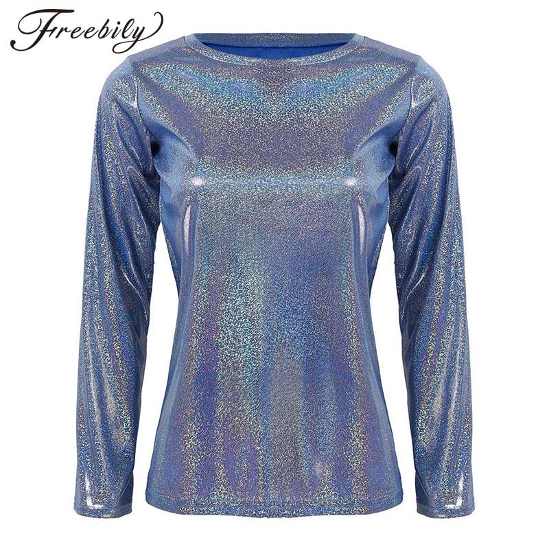 Camiseta de manga larga metálica brillante para mujer, camiseta holográfica con cuello redondo Punk para Club Rave, camiseta de baile