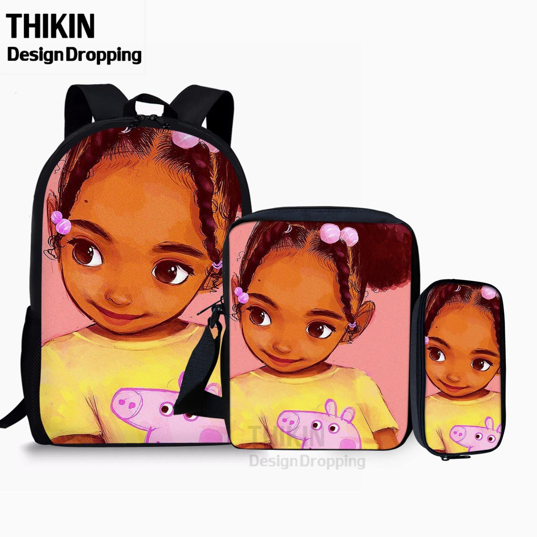 Рюкзак-книжка для девочек THIKIN, черный рюкзак через плечо в Африканском и американском стиле