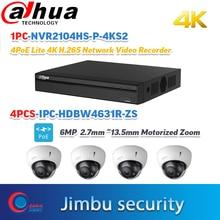 Dahua cctv NVR kit 4CH 4K&H.265 video recorder NVR2104HS-P-4KS2 security Motorized IP camera 6MP H.265  IPC-HDBW4631R-ZS 4PCS