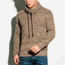 Sweater 2021 Autumn Winter Solid Color Turtleneck Long Sleeve Pocket Fashion Temperament Casual Men