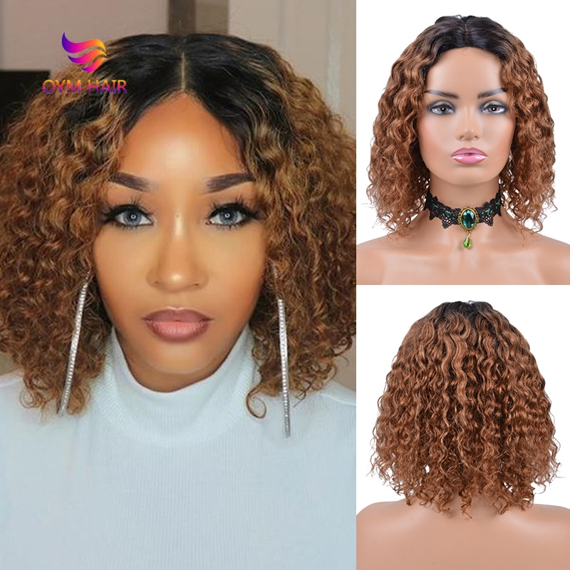 wignee natural wave lace front short human hair wigs for black women 150% density remy hair ombre green pink 613 swiss human wig Short Water Wave Bob Wigs For Black Women Ombre Human Hair Wig 150% Density Brazilian Remy Hair U Part Lace Wig Human Hair Wigs