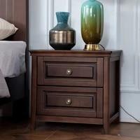 european style simple bedside table solid wood bedroom rubber wood double drawing bedside storage cabinet single drawing locker