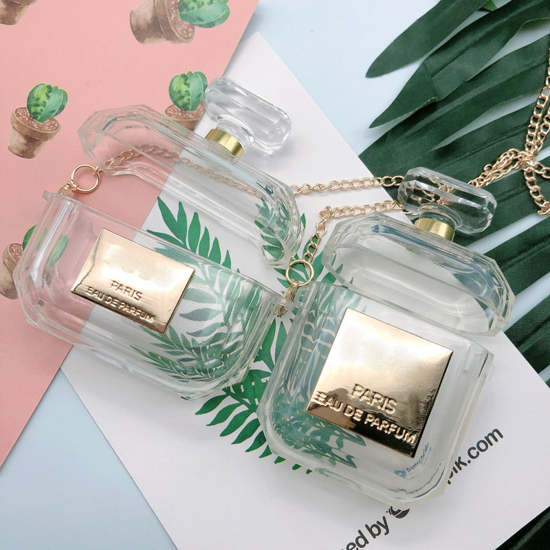 Botella de Perfume, funda de silicona para Airpods1/2 o Airpods Pro, funda protectora para auriculares, funda de Carga de auriculares Bluetooth con cadena