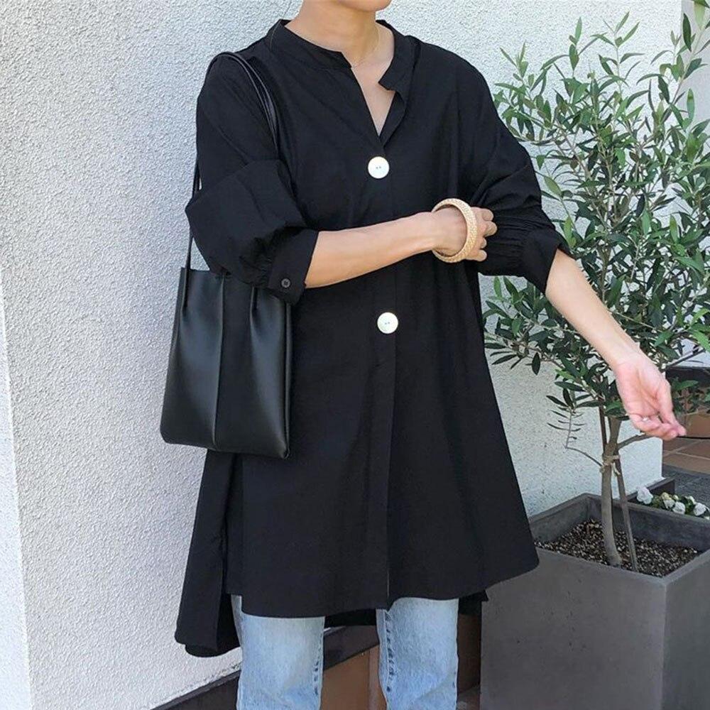 Primavera 2020 solto blusa feminina topos coreano janpan manga longa feminino senhora trabalho blusa camisas pulôver preto tamanho livre topos