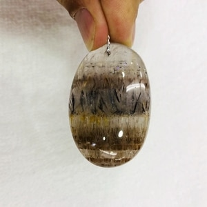 Wholesale Mixed 5pcs Natural Multi-inclusions Crystal; PHANTOM Quartz Rutilated Quartz Beads Pendant,Irregular Shape Size,35mm+