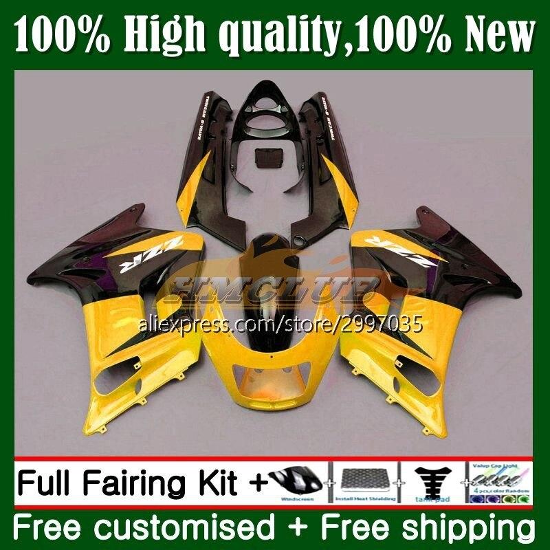 الجسم ل كاوازاكي نينجا ZZR250 ZZR 250 7No.131 ZZR-250 1990 1991 1992 1993 1994 ZXR250 95 96 97 98 99 Fairings كيت الأسود الذهب