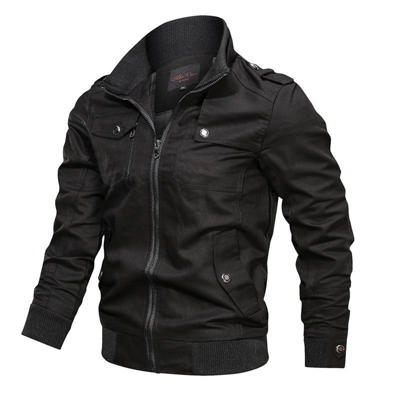 Бомбер мужской с несколькими карманами, повседневная куртка-пилот в стиле милитари, однотонная верхняя одежда-карго с воротником-стойкой, в...