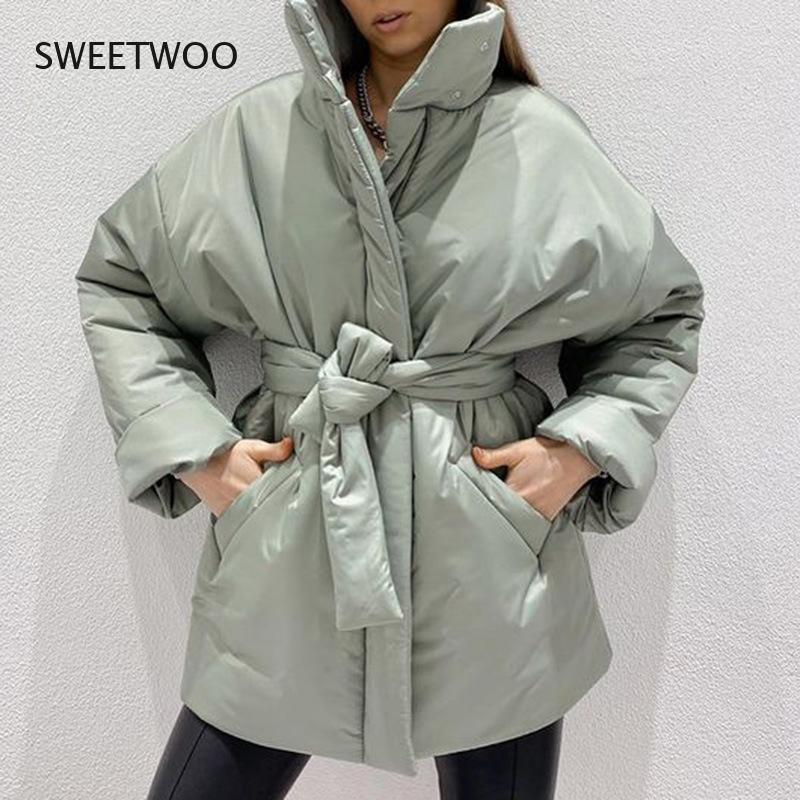 Повседневные собранные парки с поясом, женские модные простые пальто, женские элегантные весенние хлопковые куртки с воротником-стойкой дл...