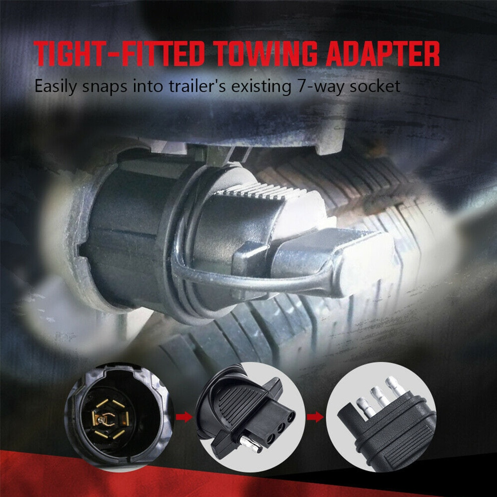 Plug acessórios conector 7 way a 4 pinos adaptador de reboque engate lâmina plana ferramentas soquete reboque rv barco profissional luz
