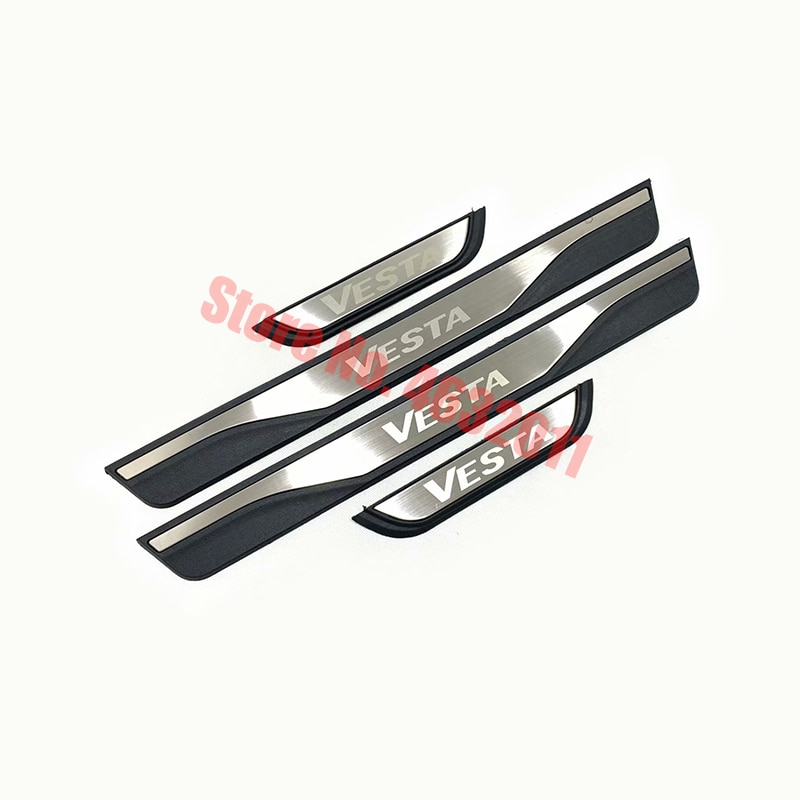 For lada vesta 2017 2018 2019 Stainless Steel Door Sill Trim Protectors Guard sticker Cover Trim Car Styling accessories 4PCS sansour 4pcs car door inside sill covers door step sill trim cover pads for jeep grand cherokee 2011 2015
