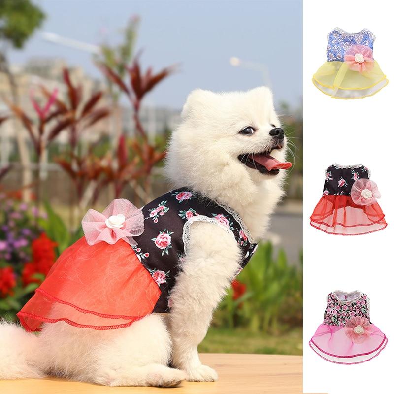 Pet Dog Printed Skirts Sweet Fashion Dog Princess Dress Sling Pet Cat Skirt Wedding Clothes For Small Medium Dogs Dresses