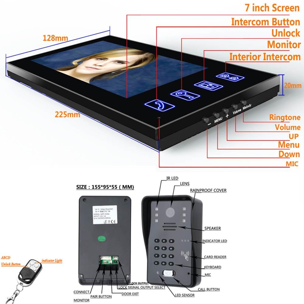 7inch Video Door Phone Intercom Doorbell With RFID Password IR-CUT 1000TV Line Camera Wireless Remote Access Control System enlarge