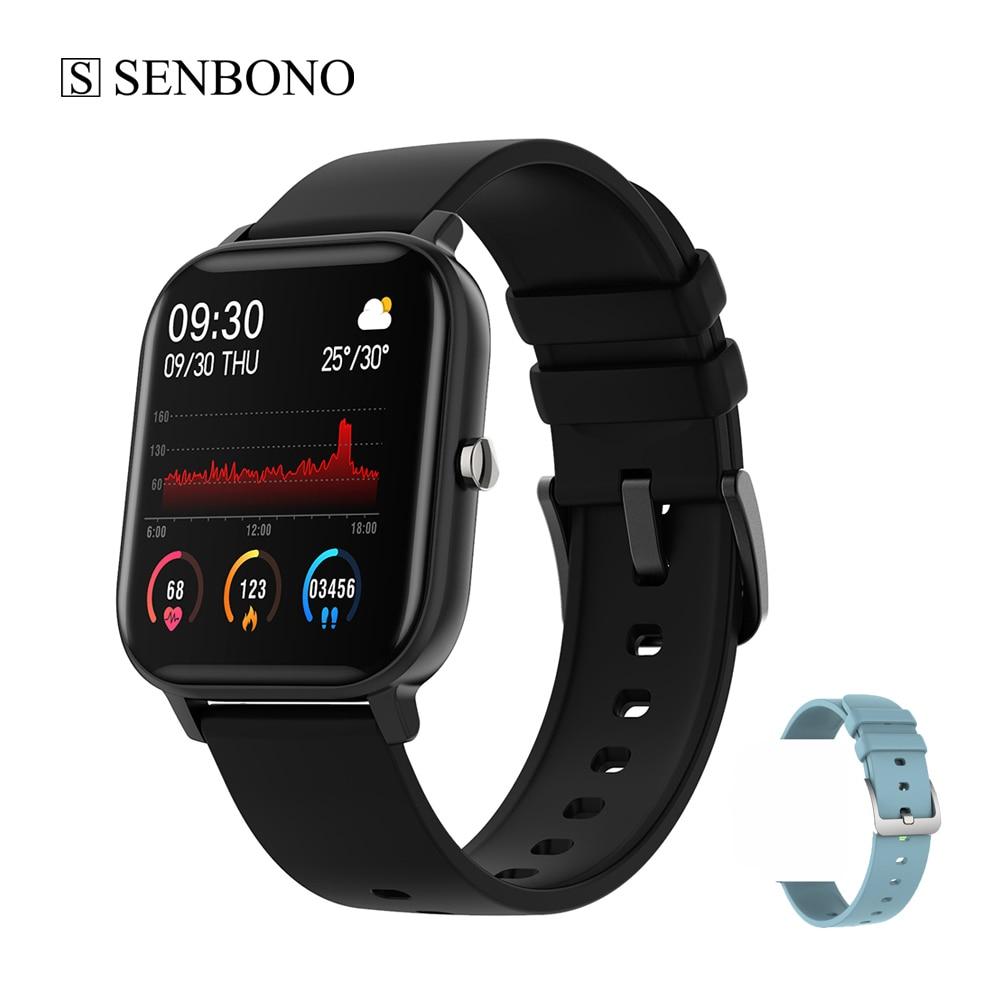 SENBONO-P8 ساعة متصلة ، ساعة ذكية ، مراقب النشاط البدني ، ساعة ذكية مقاومة للماء IP67 ، للرجال والنساء