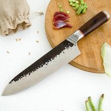 Couteau de Chef forgé, Damask, manche en ébène couteau de cuisine en acier plaqué à haute teneur en carbone couteau à découper à lame tranchante, trancheur de légumes
