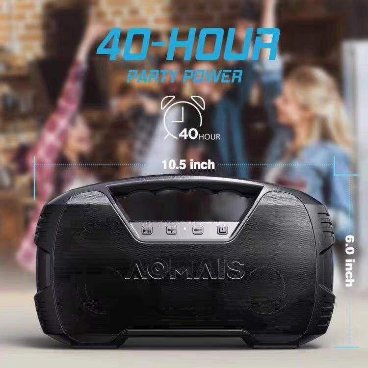 AOMAIS أربعة سماعات عالية الطاقة سماعة لاسلكية تعمل بالبلوتوث المتكلم 40 ساعة طويلة عمر البطارية اللاسلكية جنبا إلى جنب مضخم صوت مقاوم للماء مكب...