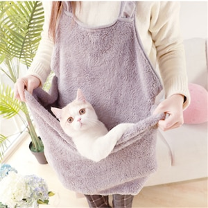 Puppy Cat Dog Carrying Backpack Coral Velvet Rabbit Cat Hair Apron Anti-stick Hair Hug Dog Clothes Hold for Cat Pocket Bag Beds
