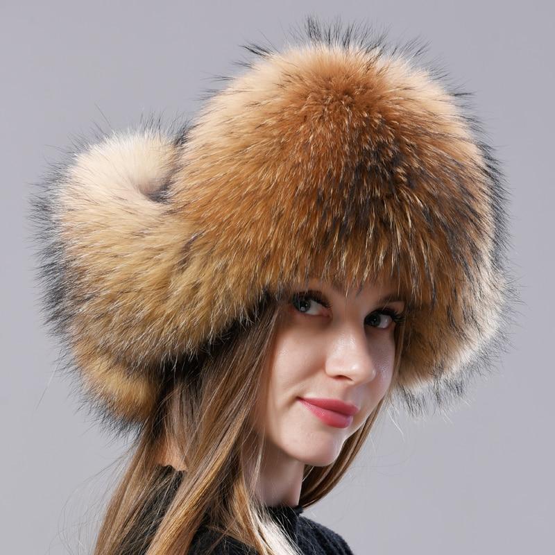 Natural Fox Fur Russian Aviation Hat with Ears Ushanka Women Winter Warm Fluffy Stylish Female Tail Cap Fashion Real Fur Hats