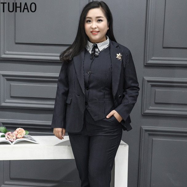 TUHAO-بليزر نسائي مخطط عتيق ، معطف مكتب ، أنيق ، مقاس كبير 9XL 8XL 7XL 6XL