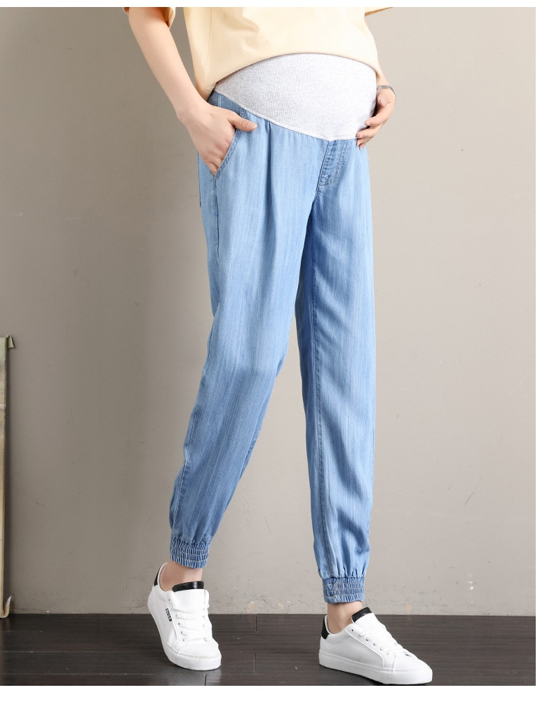 Fdfklak New Maternity Jeans Pants For Pregnant Women Jeans Blue Trousers L-5XL Plus Size Maternity Clothes For Pregnant Pants enlarge