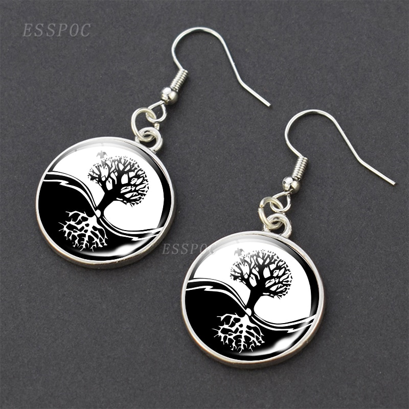 Tree of Life Drop Earrings Yin Yang Jewelry Women Fashion Dangle Earrings Fashion Accessories Gifts for Women