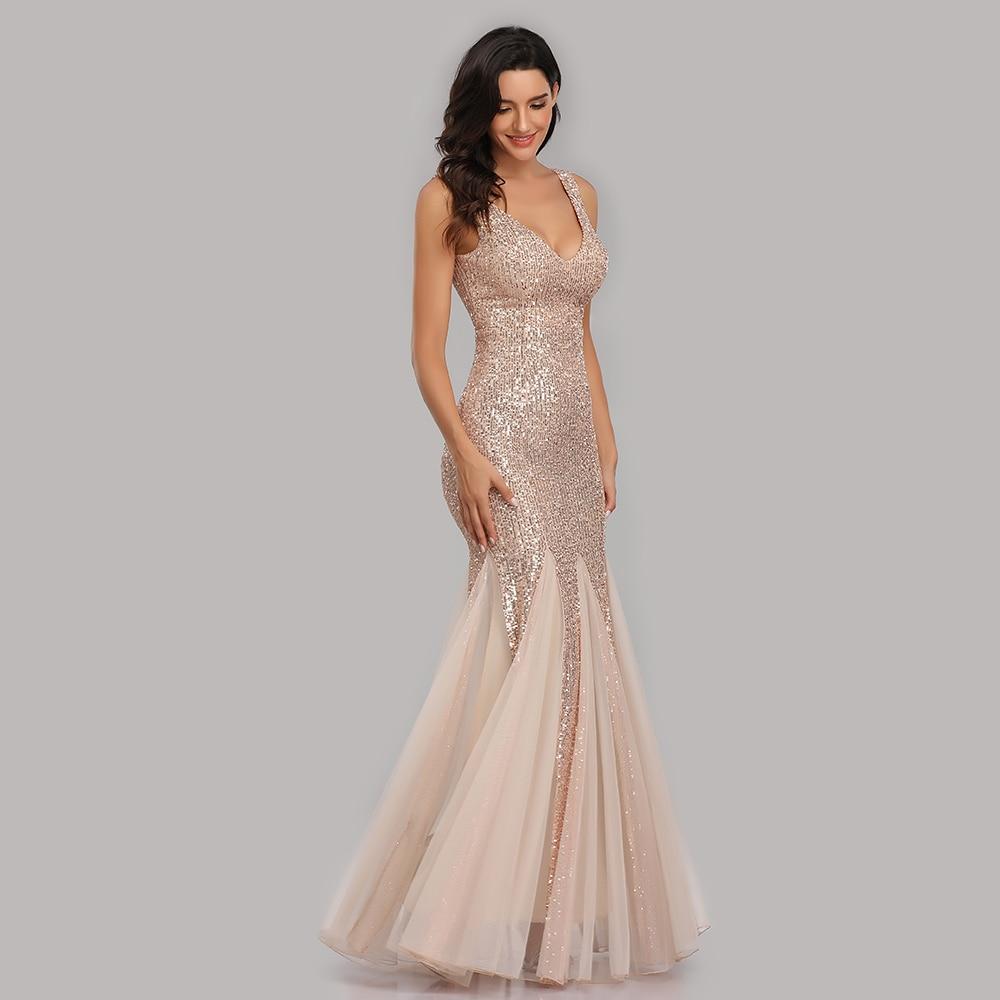 Artı boyutu V boyun Mermaid kokteyl elbise uzun örgün balo parti kıyafeti Sequins kolsuz Robe De Soriee seksi akşam Vestido de