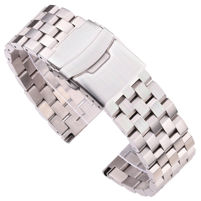 Solid Stainless Steel Watch Strap Bracelet 18mm 20mm 22mm 24mm Silver Brushed Metal Watchbands Women Men Watch Accessories stainless steel watchband bracelet 20mm 22mm men metal brushed curved end watch band strap clocks accessories
