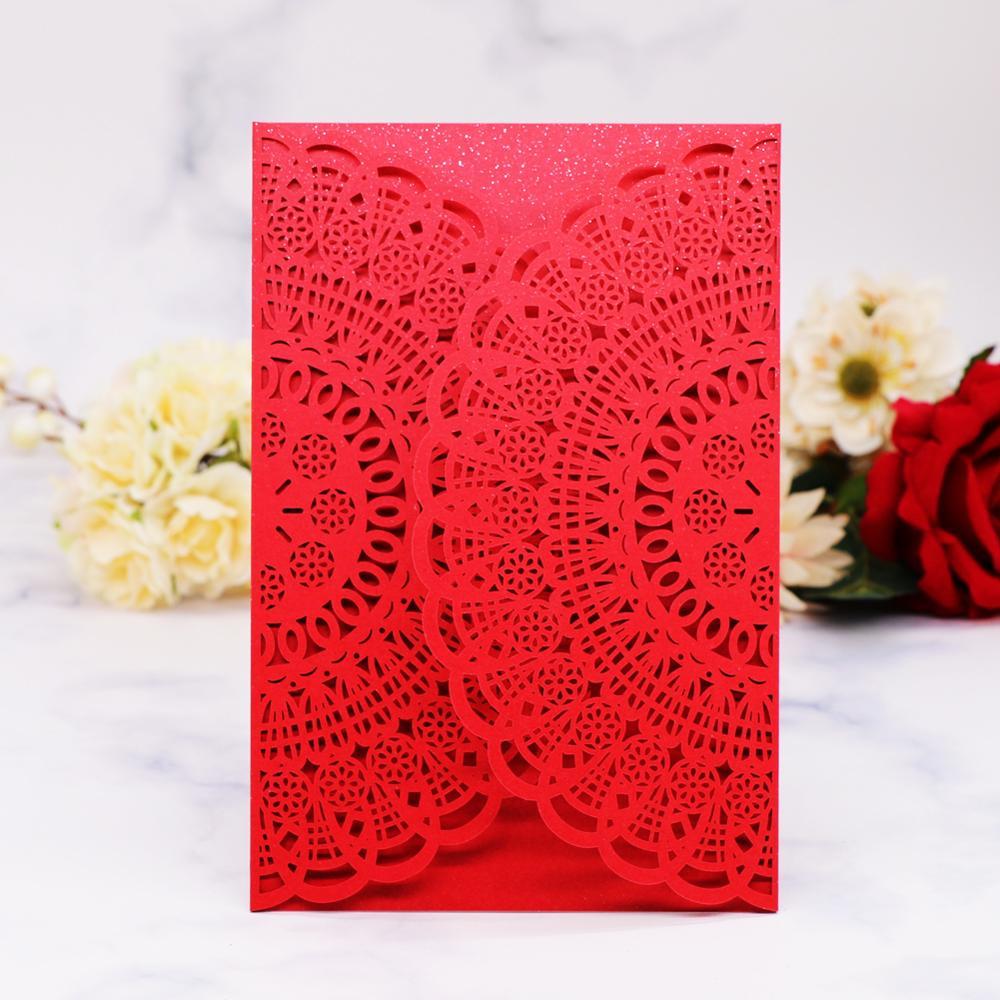 50 Uds envío gratis Kit de tarjeta de invitación con corte láser, escultura Vintage suministros de celebración para fiesta de cumpleaños tarjetas RSVP