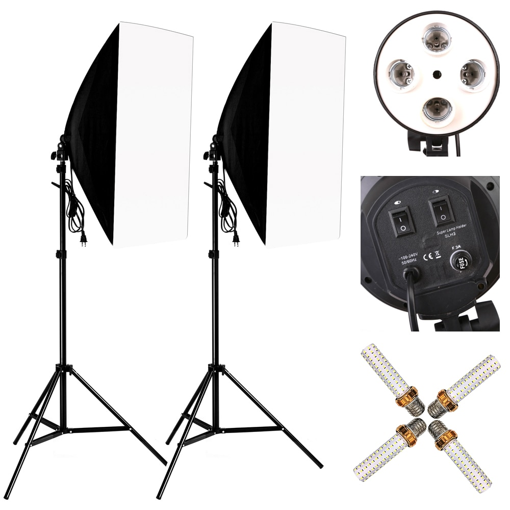 Photo Studio 8 LED 24W Softbox Kit Photographic Lighting Kit Camera Photo Accessories 2 Light Stand 2 Softbox 2 Lamp Holder