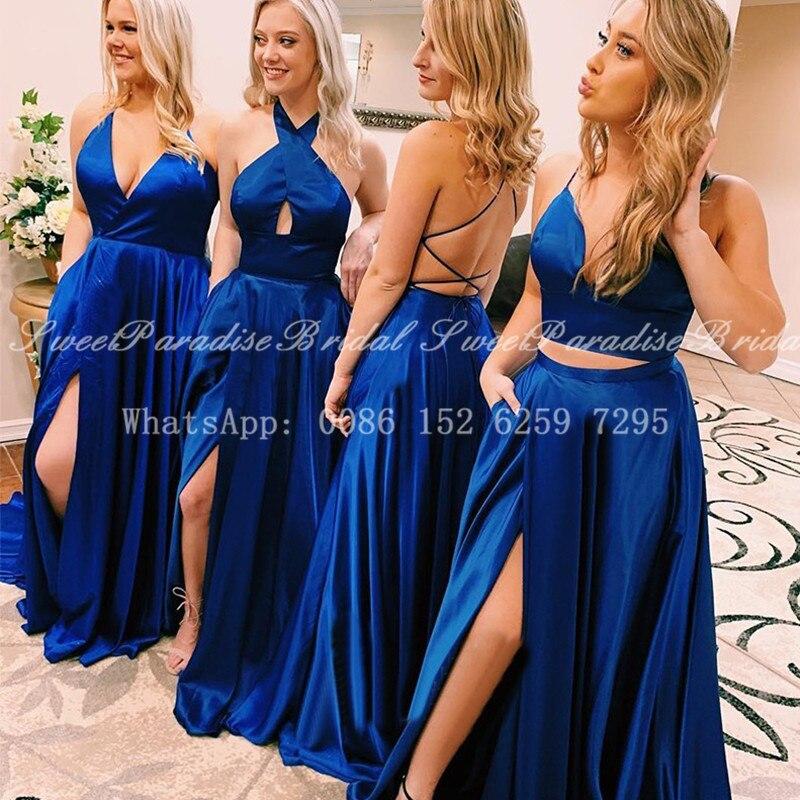 فستان إشبينة العروس طويل باللون الأزرق الملكي 2021 ، فستان سهرة ، شق على الجانب ، ظهر متقاطع ، بالجملة
