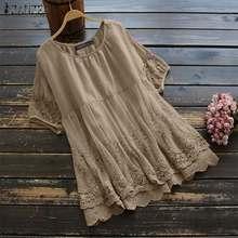 M 5XL ZANZEA Summer Short Sleeve Blouse Fashion Solid Hollow Lace Patchwork Shirt Women Cotton Pleated Tunic Tops Female Blusas
