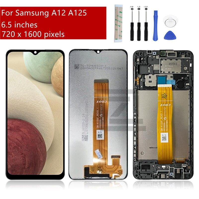لسامسونج غالاكسي A12 عرض LCD تعمل باللمس محول الأرقام الجمعية لسامسونج A125 lcd استبدال إصلاح أجزاء 6.5