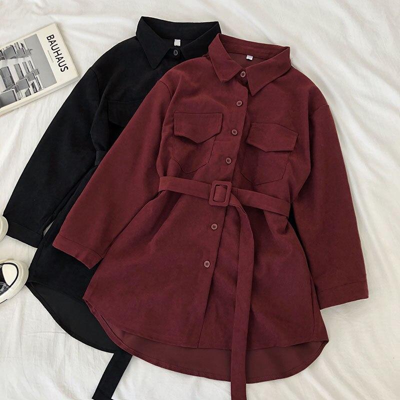 Women Autumn Shirts Dress Retro Pockets Long Sleeve Bandage Winter Female New Fashion Solid Single-breasted Casual Blouse
