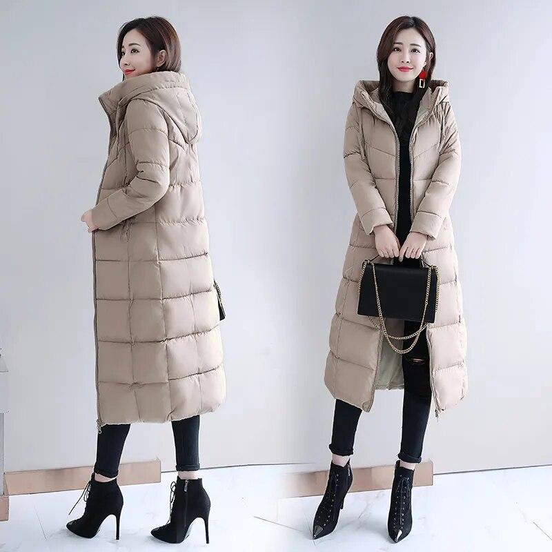 Женская Стеганая куртка, новинка 2021, зимняя стеганая куртка, женский пуховик из хлопка, толстая зимняя длинная стеганая куртка выше колена