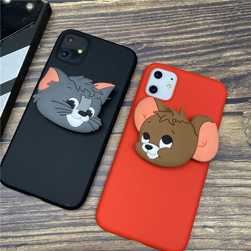 Bonita funda de anillo con soporte 3D de ratón para iphone 6 S plus 7 7plus 8 8plus X XS XR MAX 11 Pro max, carcasa con Gato de dibujos animados