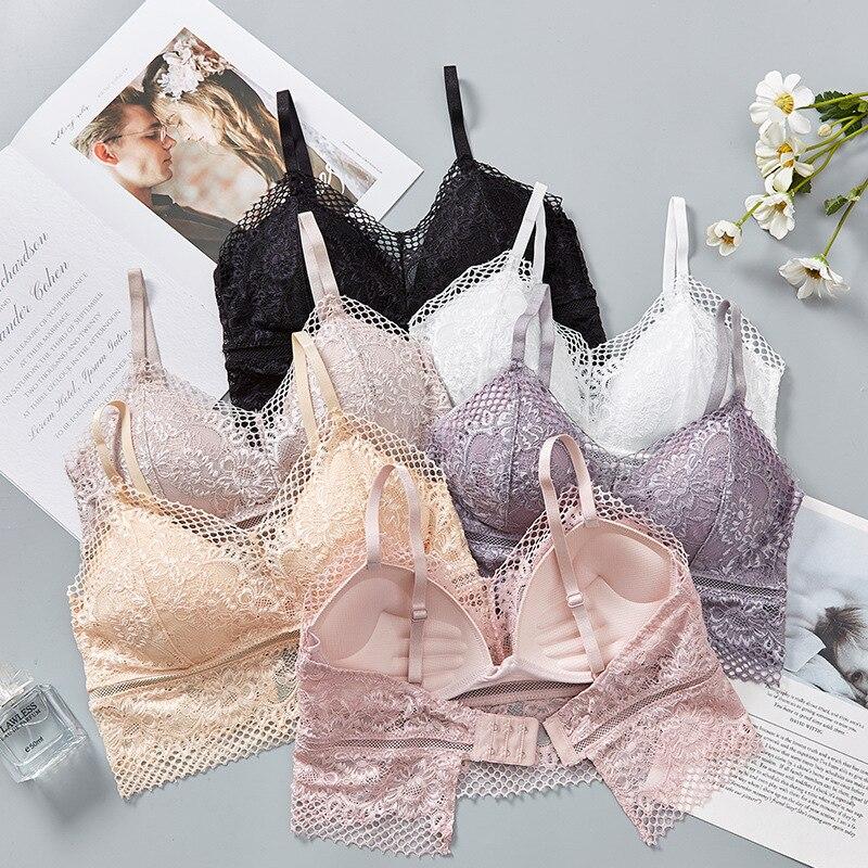 2020 New Lace Beauty Back Wrapped push up Bra Vest Anti-Emptied Korean Sexy bras for women Gathering Underwear lingerie